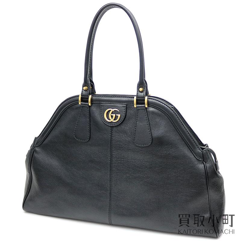 【美品】グッチ 【GUCCI】 リベル ラージ トップハンドル トートバッグ ブラック カーフスキン GGマーモント ダブルG メタルキャットヘッド 515937 0PL0T 1000 Re Belle Soft Leather Top handle bag【Aランク】【中古】