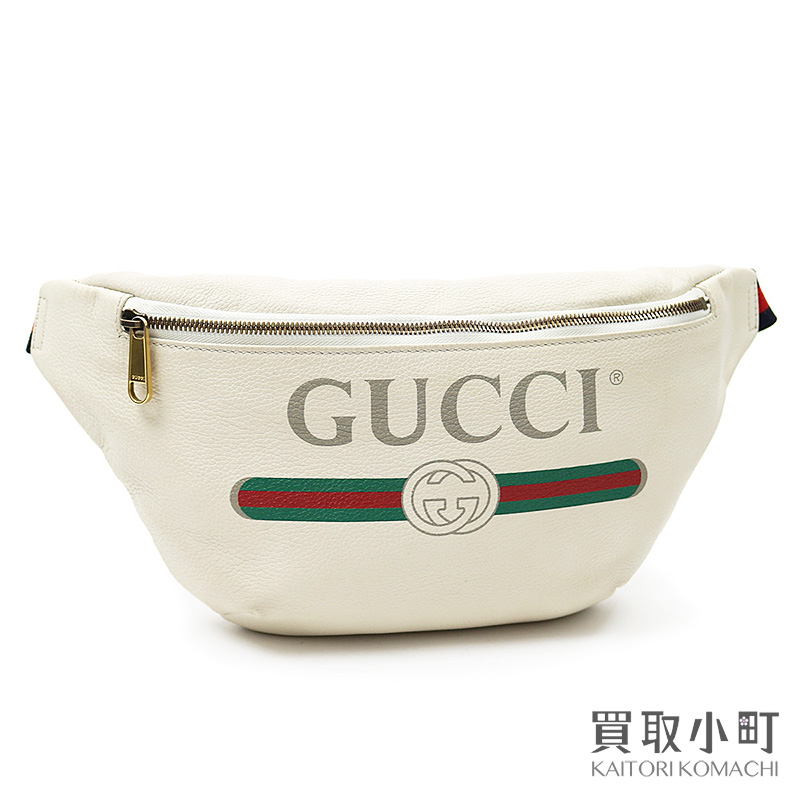 beautiful design find lowest price shopping Gucci Gucci print leather belt bag white hips bag waist porch short 530412  8822 LOGO BELT BAG