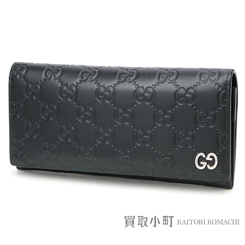 9c7e556564df KAITORIKOMACHI: 481727 Gucci Gucci signature leather long wallet black GG  emboss calfskin flap long wallet wallet double G Gucci sima men CWC1N 1000  Gucci ...