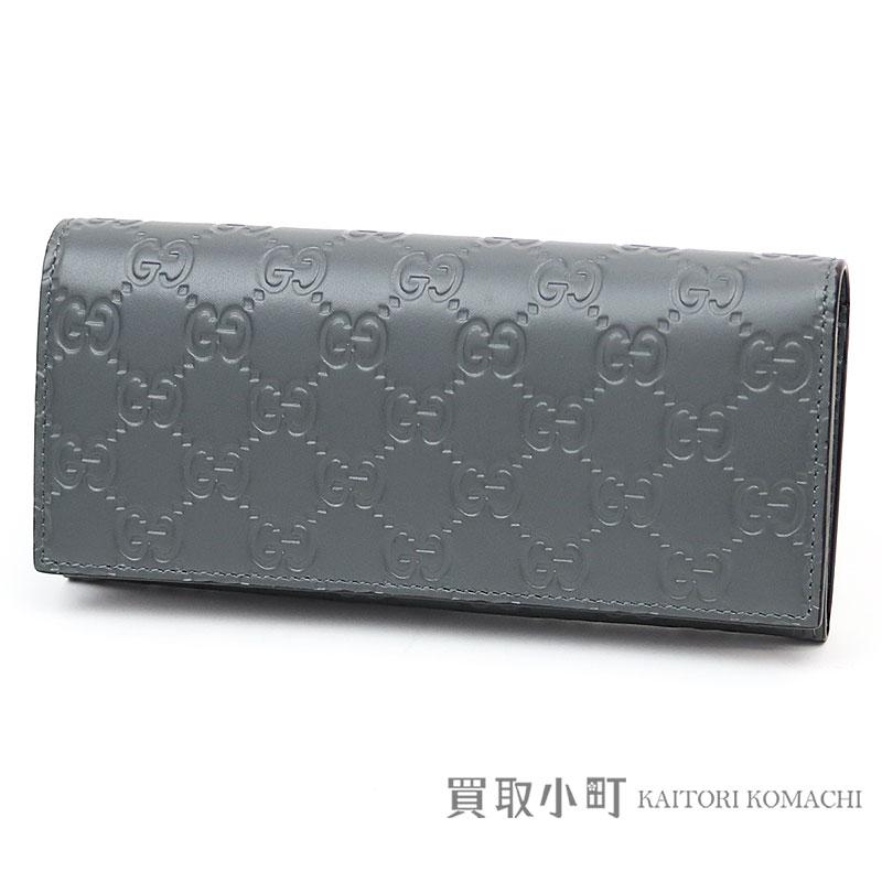 75fb69b75827f0 KAITORIKOMACHI: 233154 グッチアヴェルシグネチャーレザーロングウォレットプラチナ GG emboss gray calfskin  flap long wallet wallet double G Gucci sima men ...