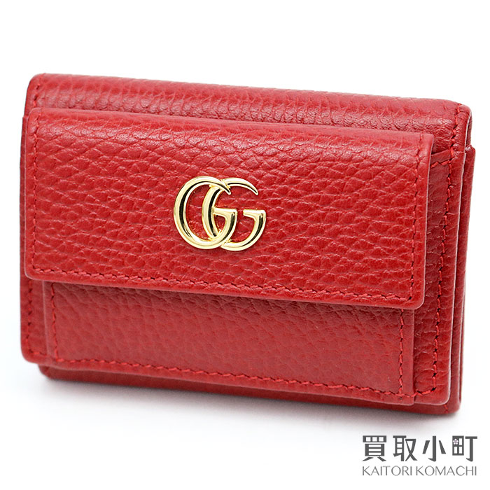 c7bce81831713f Three Gucci GG マーモントレザーウォレットレッドカーフスキンコンパクトウォレット W hooks fold wallet coin case  card case wallet 523277 CAO0G 6433 GG MARMONT ...