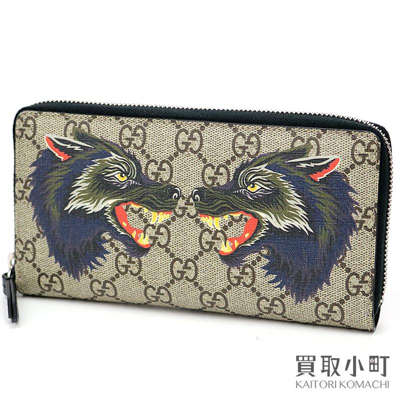 c209fa05365 Gucci double wolf GG スプリームキャンバスジップアラウンドウォレットラウンドファスナー long wallet wallet  tattoo 451273 9H6AN 8697 XXV Double Wolf print GG ...