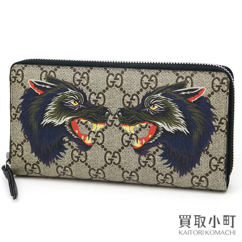bc1ab712338e KAITORIKOMACHI: Gucci double wolf GG スプリームキャンバスジップアラウンドウォレットラウンドファスナー long wallet  wallet tattoo 451273 9H6AN 8697 XXV Double ...