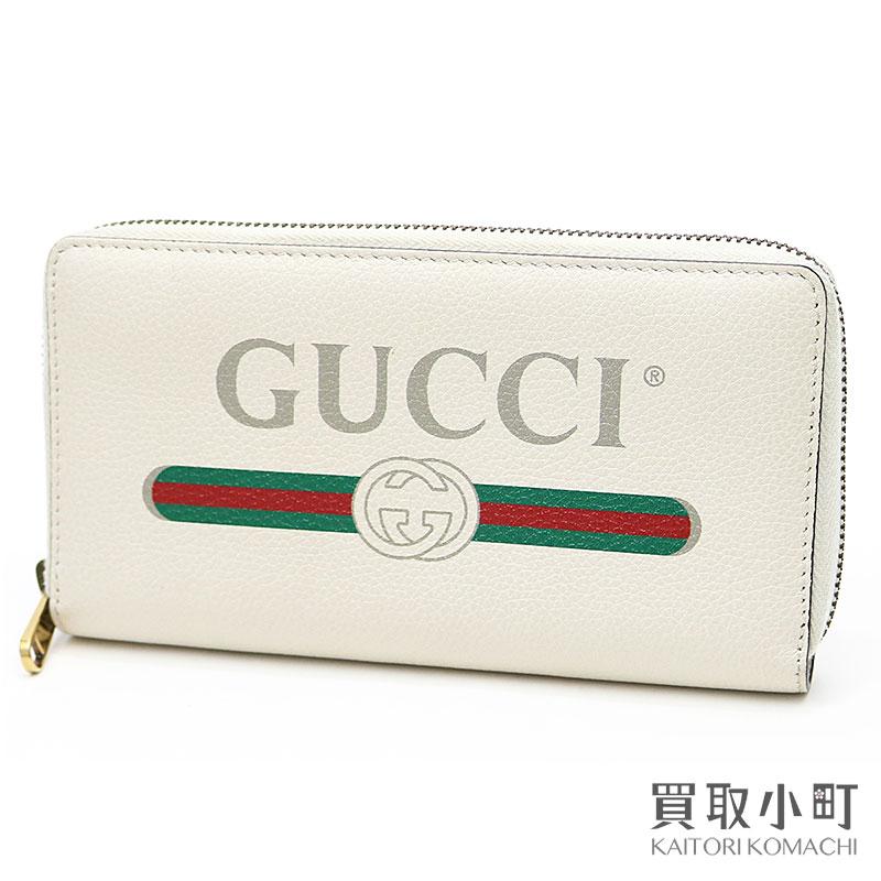 77db7d52d396 KAITORIKOMACHI  Gucci Gucci print leather zip around wallet white ...