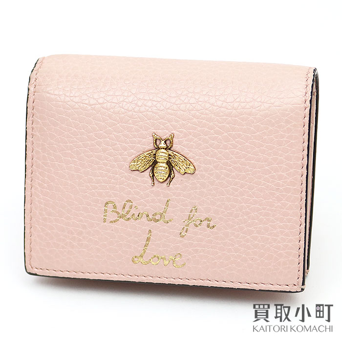 d7c0aed84c2 Light pink leather B compact wallet fold wallet wallet card case business  card holder bee bee 460185 A7M0T 590 with the Gucci anima Rie card case  coin ...