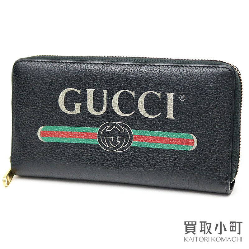 143752194d41 KAITORIKOMACHI: Gucci Gucci print leather zip around wallet black vintage  logo round fastener long wallet wallet 496317 0GCAT 8163 Gucci Print Leather  Zip ...