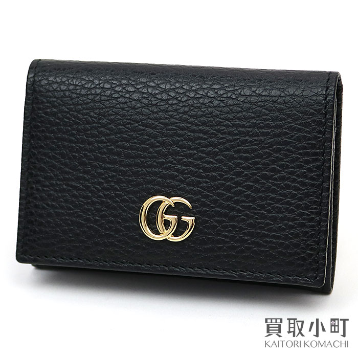 newest 43fda d56a5 474748 グッチプチマーモントレザーカードケースブラックカーフスキン card case business card holder double  G-mans CAO0G 1000 ...