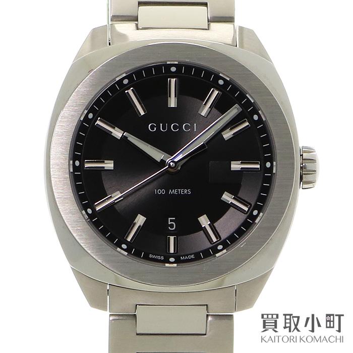 【美品】グッチ【GUCCI】 GG2570 ラージウォッチ 41mm メンズ ブラック ステンレス SSブレス クォーツ 男性用腕時計 142.3 YA142301 WATCH QZ【Aランク】【中古】