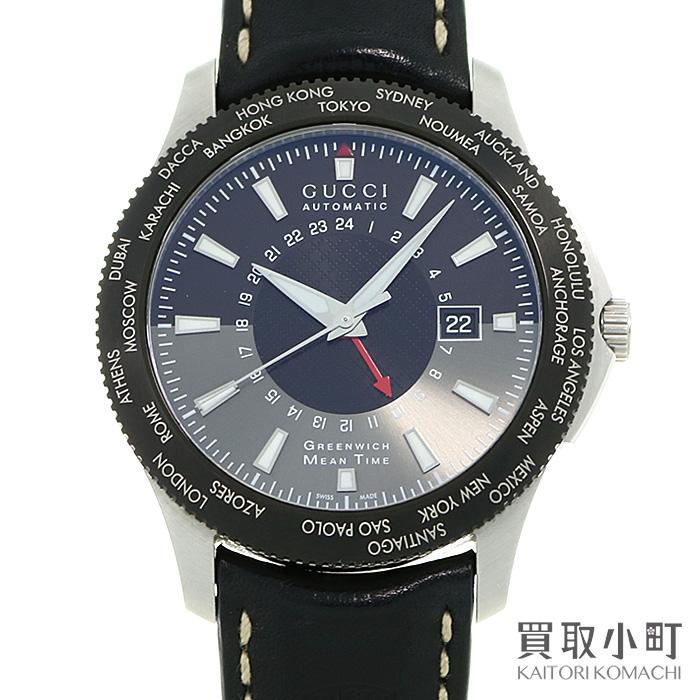 グッチ【GUCCI】G-タイムレス GMT オートマティック ブラック×グレー 革ベルト Gタイムレス メンズ 男性用腕時計 126.2 YA126212 G-TIMELESS EXTRA LARGE GMT WATCH【ABランク】【中古】