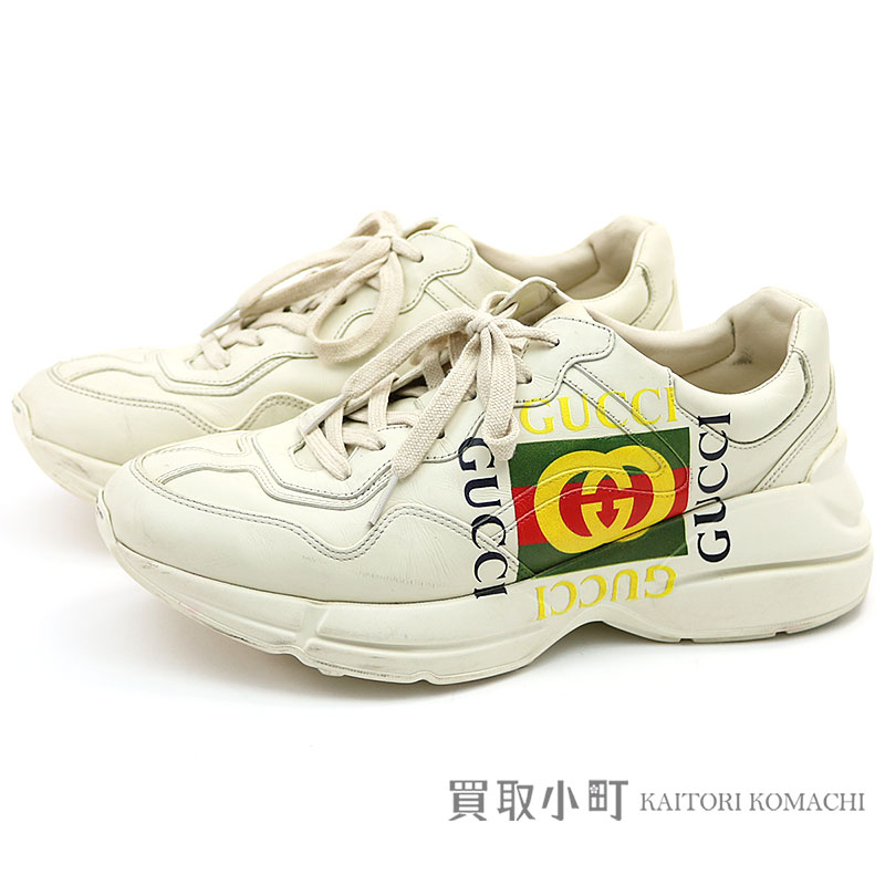 99428e358 KAITORIKOMACHI  Gucci Gucci logo leather sneakers size 8 ivory ...