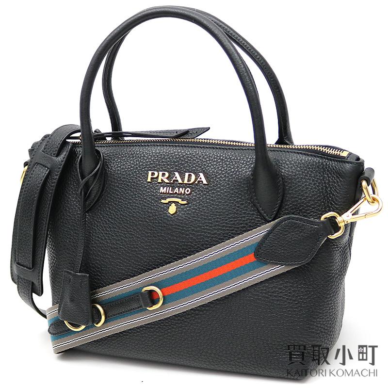 e153737f835c KAITORIKOMACHI: Prada top steering wheel bag black calfskin triangle logo leather  2WAY shoulder tote bag 1BA111 2BBE F0002 TOTE BAG VIT.