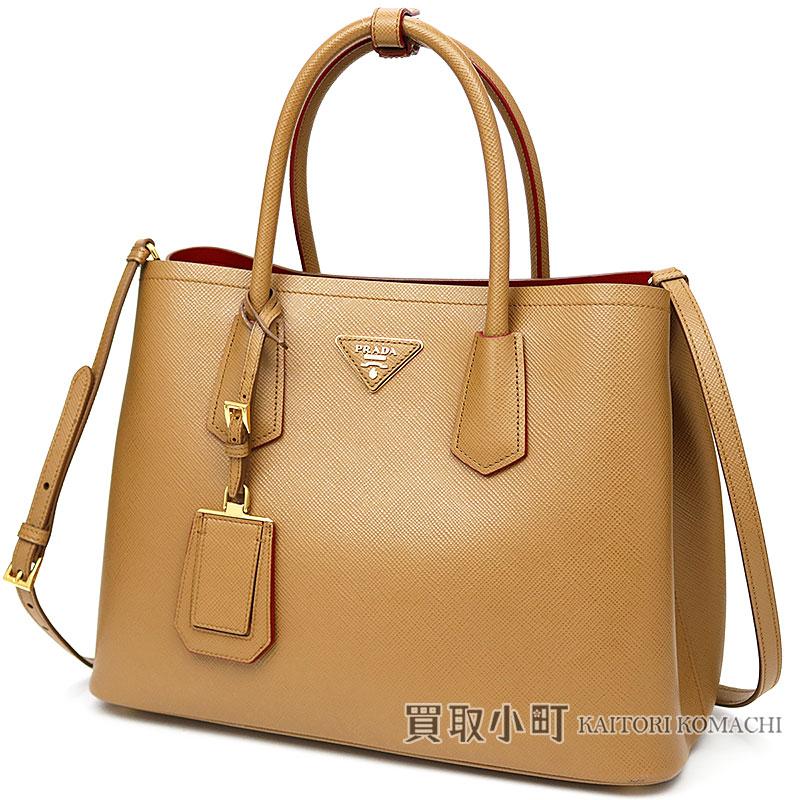 0b6272705a82 プラダダブルバッグサフィアーノレザートライアングルロゴキャラメルショッピングバッグ 2WAY shoulder tote bag BN2775  2A4A ...