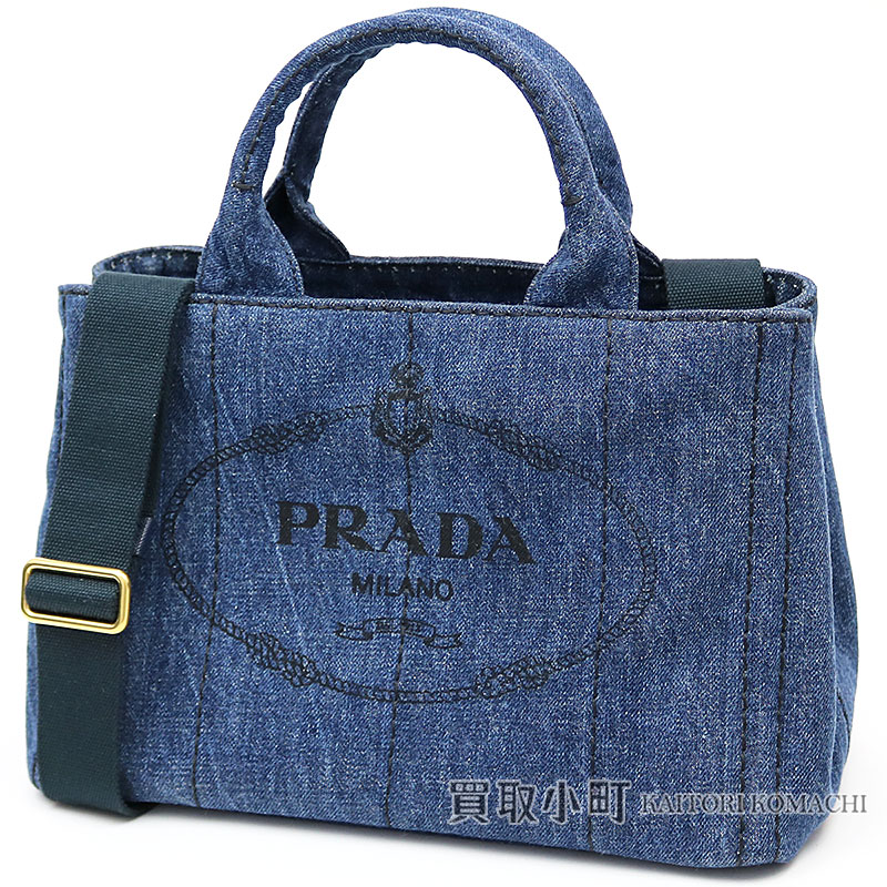Prada Denim Tote Bag Small Blue Silkscreen Print Triangle Logo 2way ショルダーハンドバッグカナパファブリック B2439g Aj6 F0e93