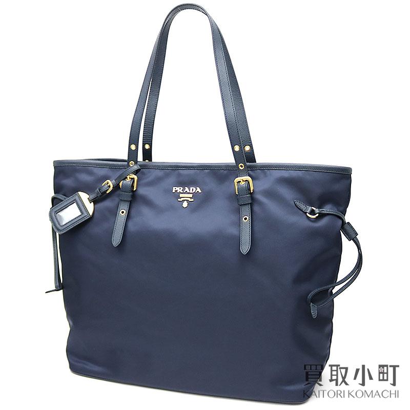 80aa1c904a7d Plastic Date soot metal logo tote bag blue nylon X サフィアーノレザーショルダーショッピングバッグ  1BG997 ZMY F0008 TOTE BAG TESSUTO+SAFFIANO BLEU