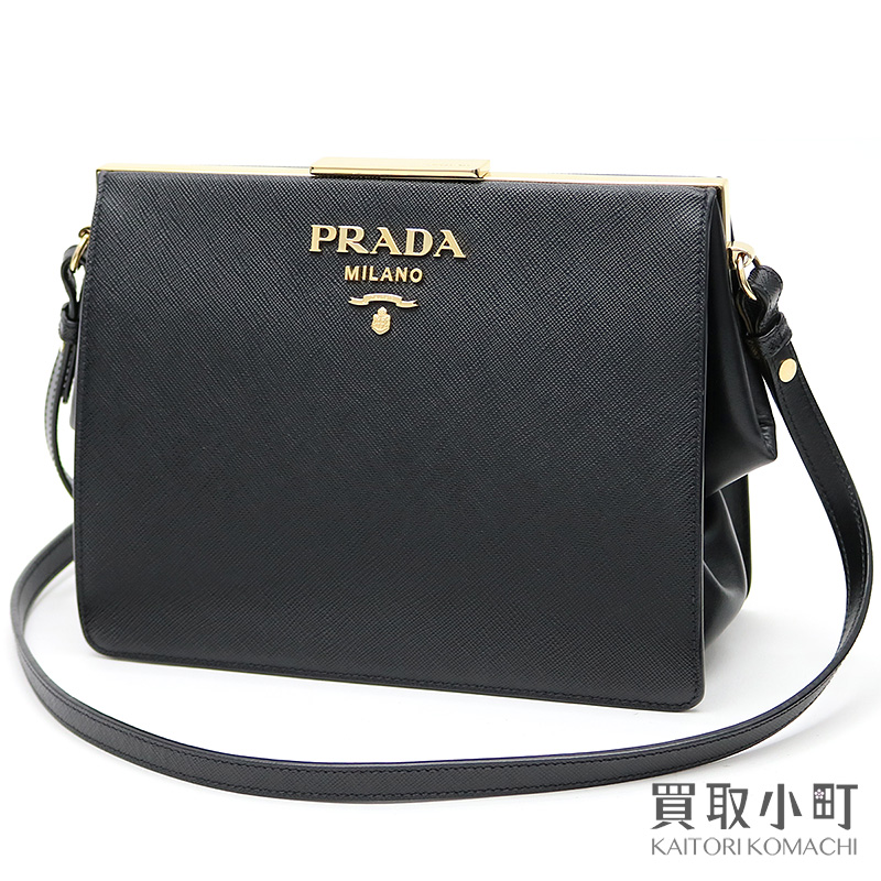 3e6b2a71565bd7 KAITORIKOMACHI: Take プラダライトフレームバッグサフィアーノ X city calf metal logo black  leather shoulder bag slant; 1BC046 2EVU F0002 PRADA ESPLANADE BAG ...