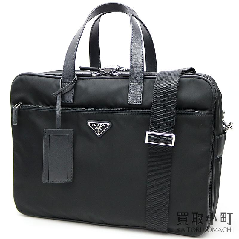 97c9cce7ef94 Leave Prada briefs Kay  soot + サフィアーノレザーブラックトライアングルロゴメンズ 2WAY shoulder  business bag duffel dispatch case triangle logo V407S 2E9S ...
