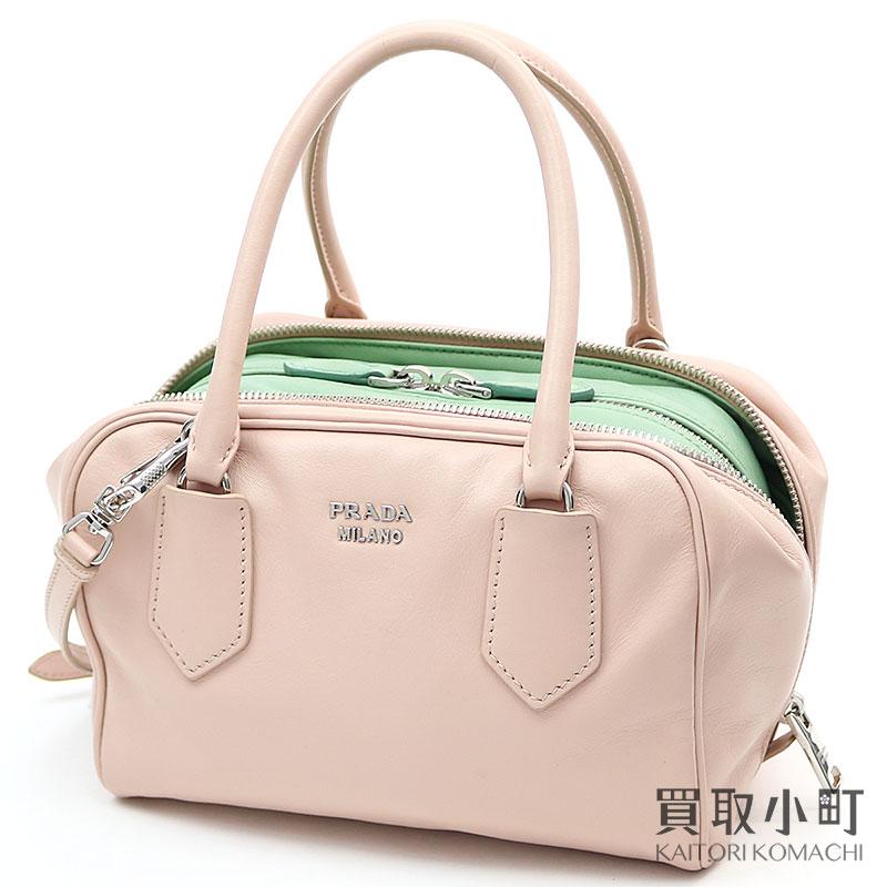 eb16ac01d8610c Prada inside bag software calf light pink X green leather metal logo 2WAY shoulder  bag square ...