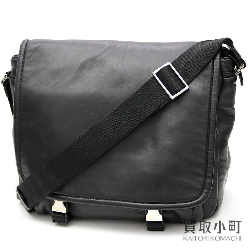 fd2356f01081 Take a Prada black leather messenger bag triangle logo black lambskin men  leather shoulder bag slant ...