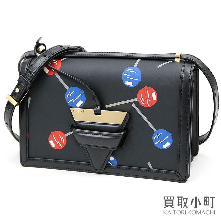 【美品】ロエベ【LOEWE】ロリポップ キャンディ バルセロナバッグ ブラック プリント カーフスキン 2WAYショルダー Lollipops Barcelona Bag printed leather【Aランク】【中古】