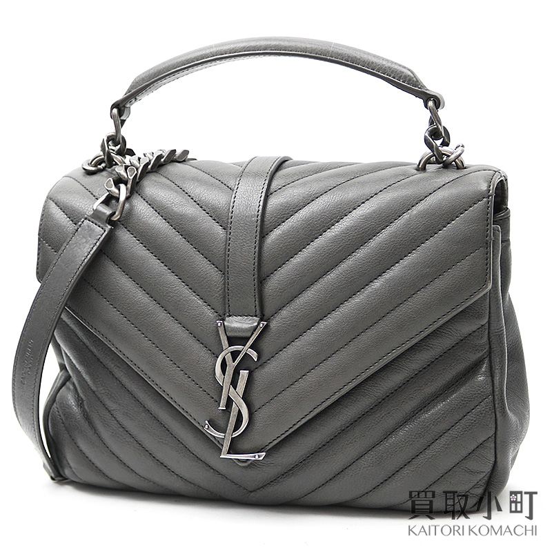 e35f5b6795 Saint-Laurent monogram Saint-Laurent Satchell gray quilting leather 2WAY  chain shoulder handbag 392737 CTR04 1258 YSL SATCHEL MEDIUM BAG COAL