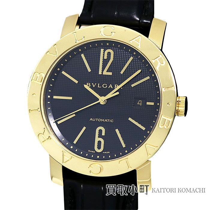 【美品】ブルガリ【BVLGARI】ブルガリブルガリ 18Kイエローゴールド オートマティック ブラック アリゲーター 革ベルト メカニカル 自動巻き 男性用腕時計 Ref.101405 BB42BGLD/AUTO K18YG BVLGARI・BVLGARI GOLD WATCH【Aランク】【中古】