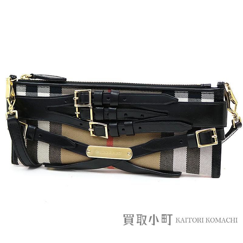 5b353f2f4c KAITORIKOMACHI: Burberry mini-parts clutch wedding house check beige X black  shoulder bag 3763845 A500146738 BRIDLE HOUSE CHECK MINI PARMOOR CLUTCH BLACK  ...