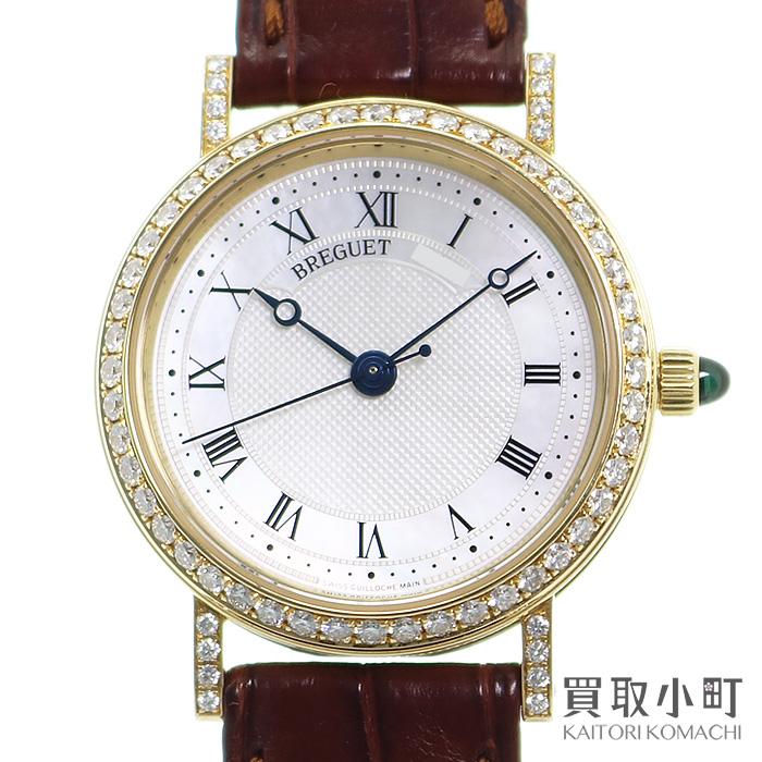 【美品】ブレゲ【Breguet】クラシック 18Kイエローゴールド ダイヤモンド マザーオブパール レディースウォッチ アリゲーターベルト オートマティック 自動巻き 女性用腕時計 8068BA/52/964/DD00 Classic Diamond Watch K18YG【Aランク】【中古】