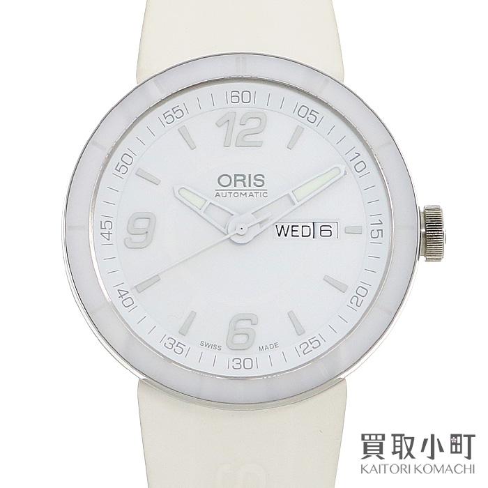 【美品】オリス【ORIS】 TT1 オートマティック デイデイト メンズウォッチ ホワイト ラバーベルト 男性用腕時計 01.735.7651.4166-07.4.25.07 TT-1 DAY-DATE WATCH【Aランク】【中古】