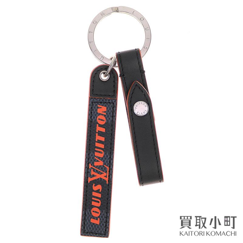美品 ルイヴィトン LOUIS VUITTON M67776 ポルトクレ ベルトタブ キーホルダー ダミエコバルト LVロゴ シグネチャー バッグチャーム Aランク 中古 cobalt 限定特価 Belt Damier tab holder キーリング Key charm オリジナル Bag