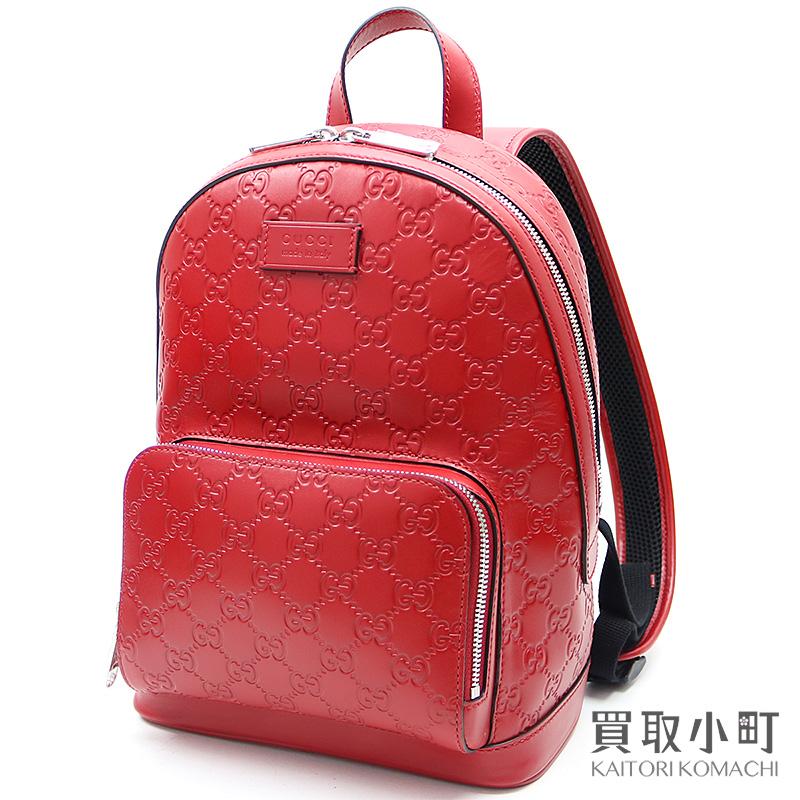 【未使用品】グッチ 【GUCCI】 グッチシグネチャーレザー バックパック ハイビスカスレッド GG型押し カーフスキン リュックサック デイパック レディース 450967 CWCCN 8646 GG Gucci Signature Leather Back Pack Red【Sランク】【新品同様】