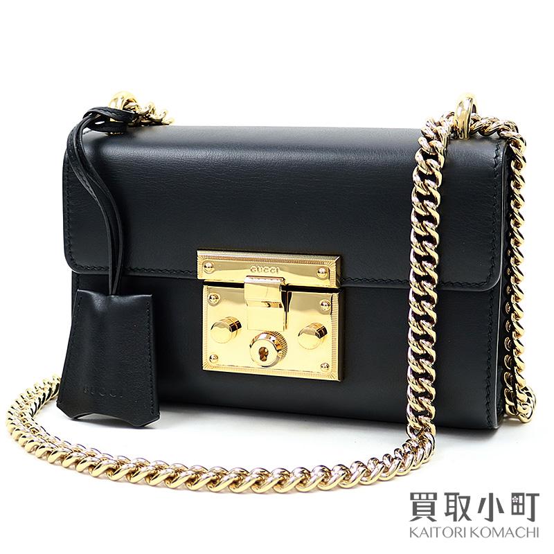 【美品】グッチ 【GUCCI】 スモール パドロック チェーンショルダーバッグ ブラック カーフレザー 2WAY 斜め掛け 409487 AP00G 1000 Padlock small shoulder bag Chain【Aランク】【中古】