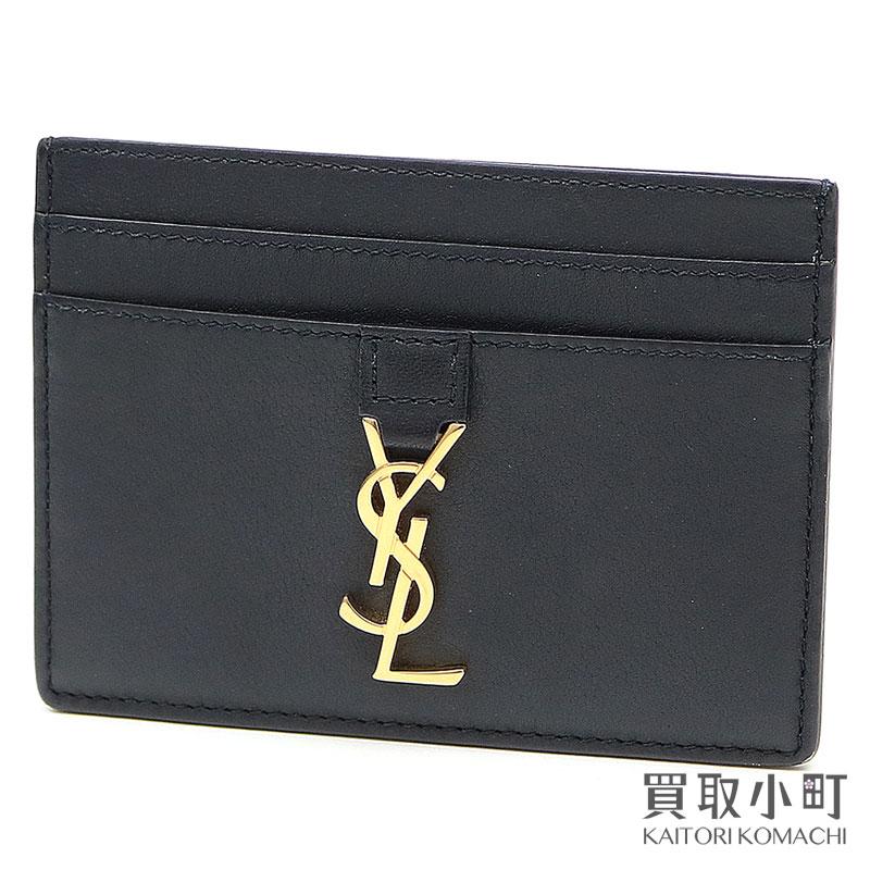 【美品】サンローラン 【YVES SAINT LAURENT】 YSLライン クレジットカードケース ブラックレザー カードホルダー モノグラム 423480 BJ50J 1000 YSL Monogram Card Case【Aランク】【中古】