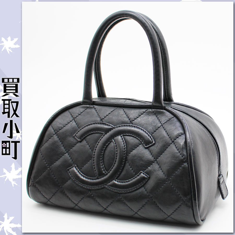 Chanel (CHANEL) CC mark quilting mini-Boston bag black calf-leather handbag bowling bag here mark matelasse line black A30803 Y04154 %OFF