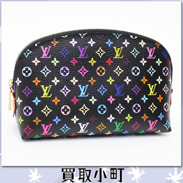 Louis Vuitton M47355 pochette cosmetics makeup porch monogram マルチカラーノワールグルナードコスメポーチルイ Vuitton black X pink LV COSMETIC POUCH %OFF