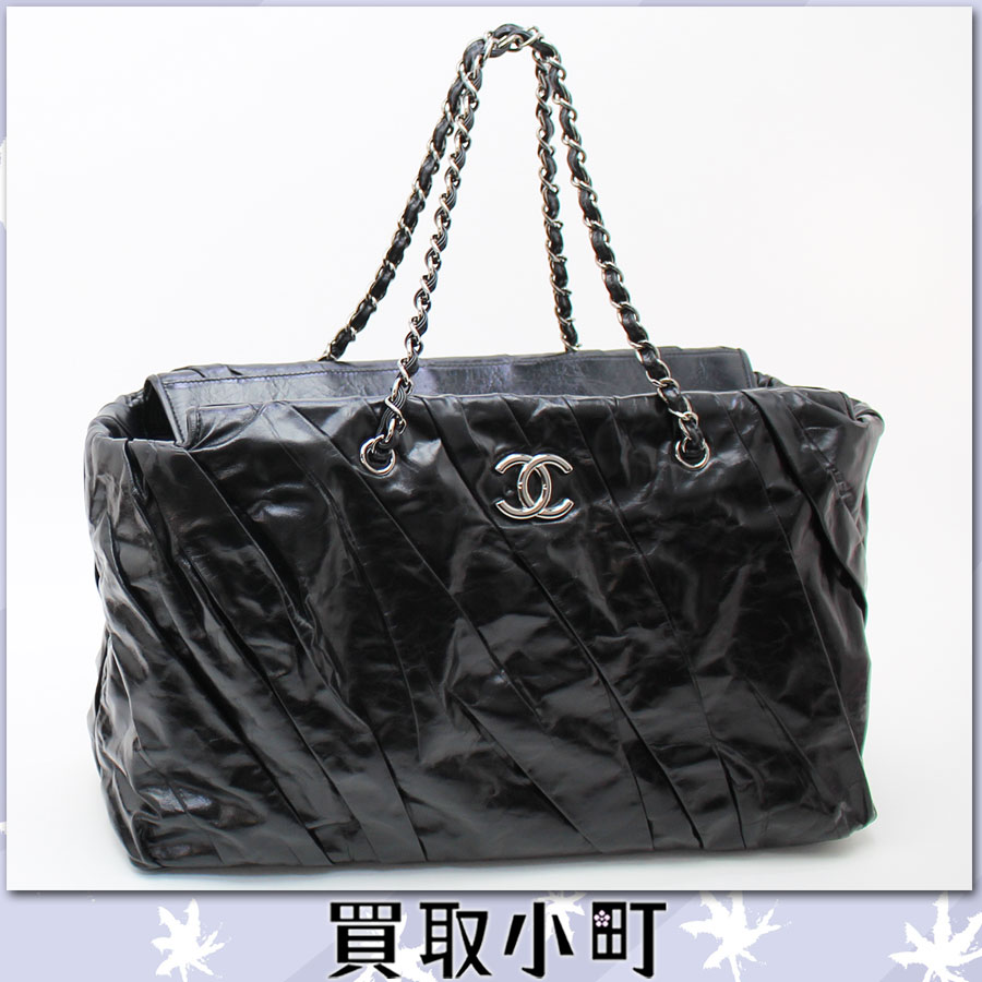 Chanel (CHANEL) twisted chain shoulder bag CC mark black leather silver metal fittings here Mark Grand shopping bag chain tote bag classical music A47833 %OFF