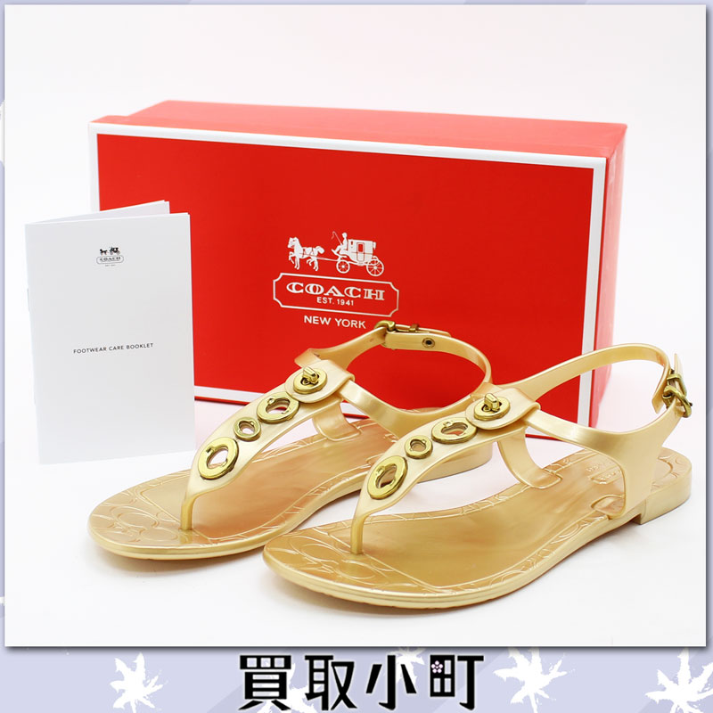 Coach Fila signature flat sandals rubber shoes gold shoes shoes USA#6B Q1786 PHILA 7200049/J12 OFF