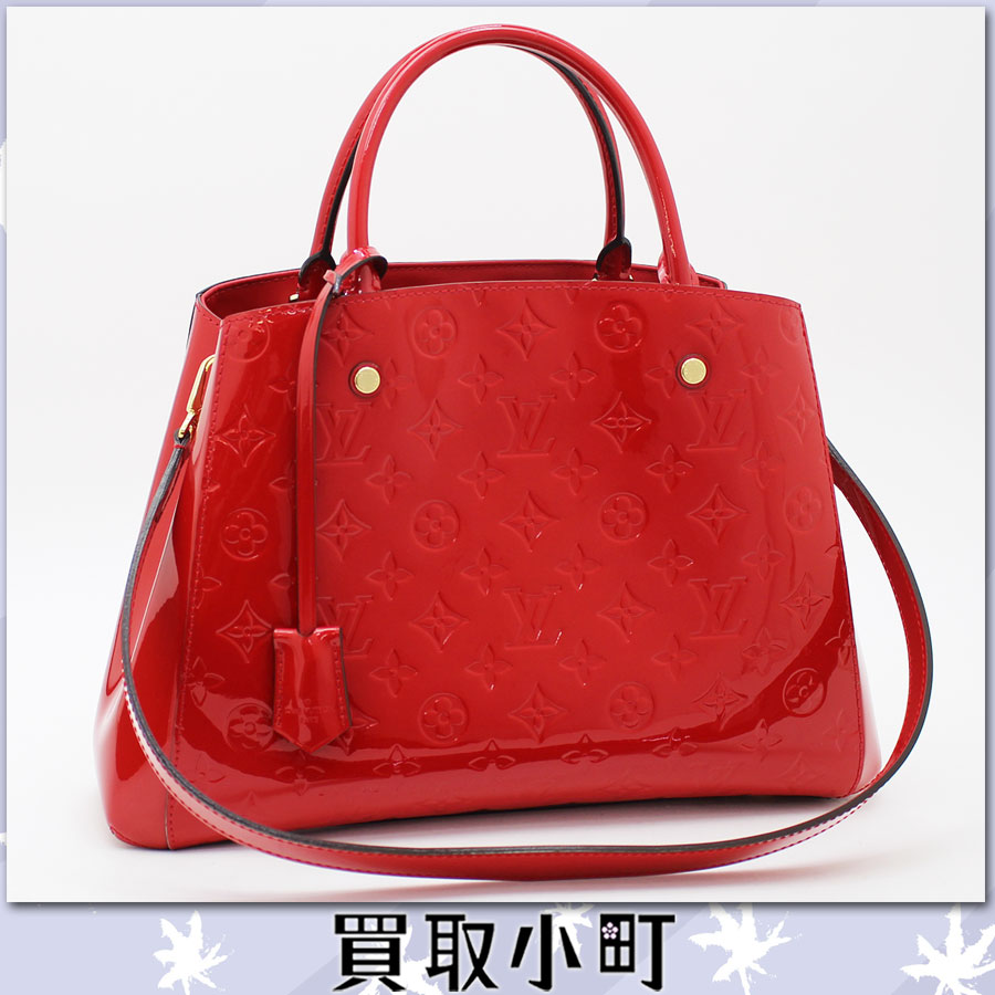 Louis Vuitton M50167 Montaigne MM monogram ヴェルニスリーズハンドバッグショルダーバッグトートバッグ 2WAY bag cherry red Louis Vuitton LV MONTAIGNE MM Cherry %OFF
