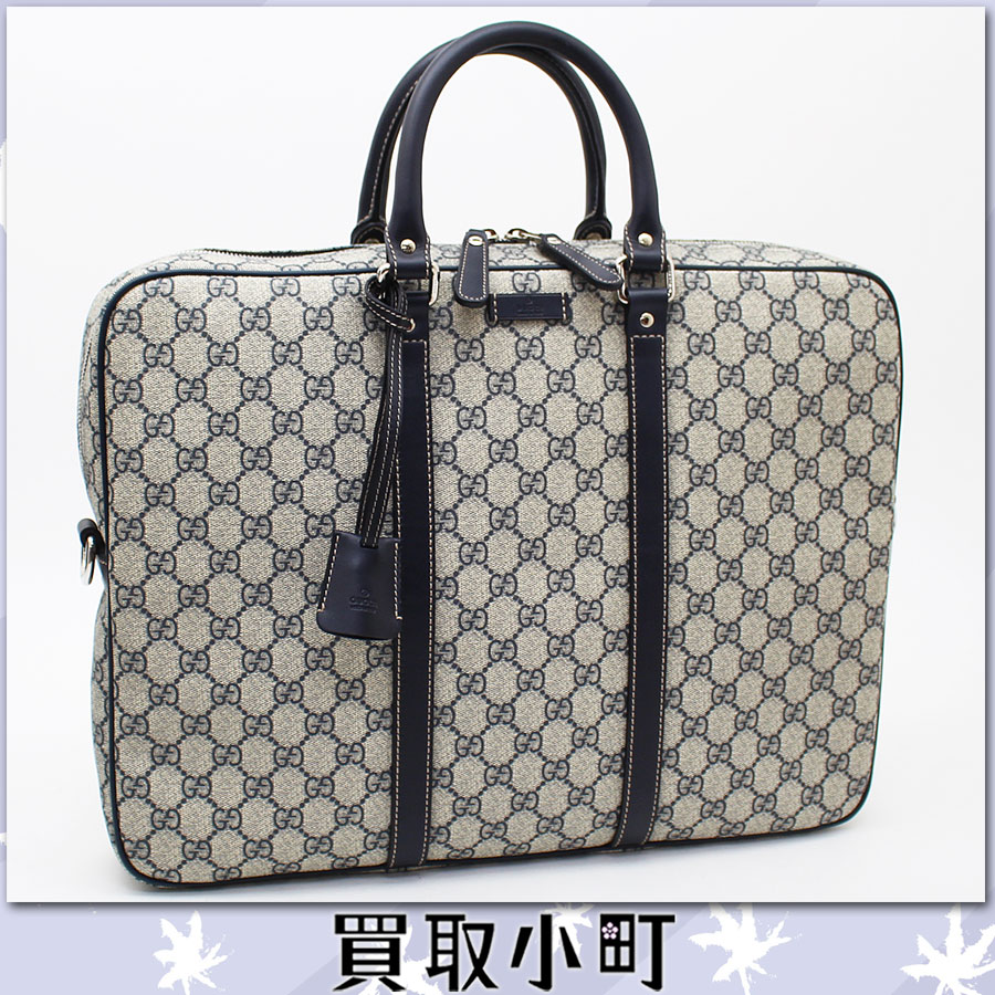 201880 Gucci Briefcase Zip Top Gg Plus Beige X Navy Blue Business Bag Doents Handbag Men Fp47n 4075 Off