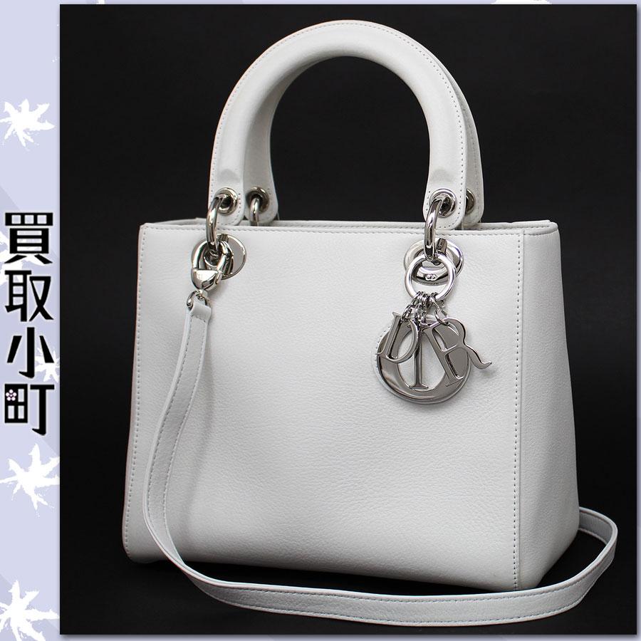 基督教徒·dioruredidioruhowaitokafusukinshiruba金属零件媒介大手提包手提包标识迷人女士Dior白LadyDior%OFF