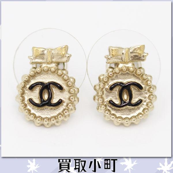 Chanel here mark ribbon pierced earrings black CC mark earrings accessories A61356 B13S COCO %OFF