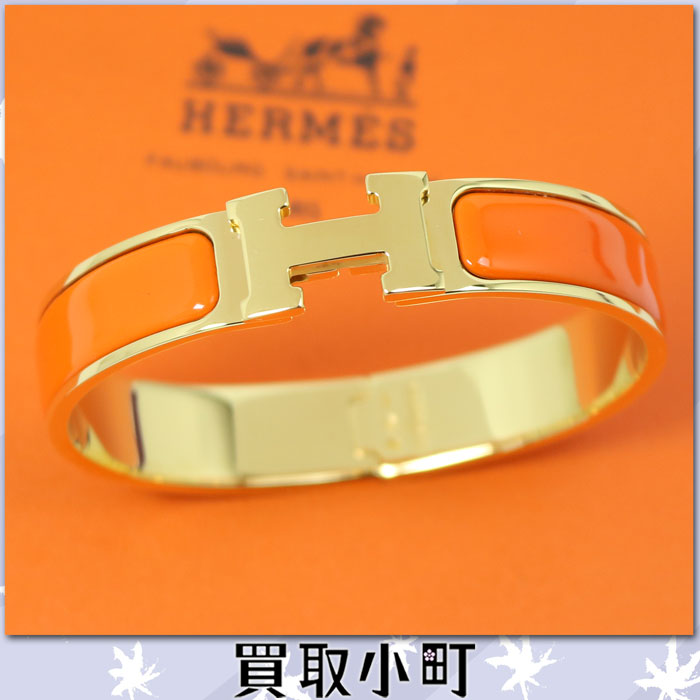 Hermes click H bangle orange yellow gold play Ted click Ashe PM click crack  PM H bracelet enamel Small accessories H700001F 23PM Le bracelet Clic H %OFF
