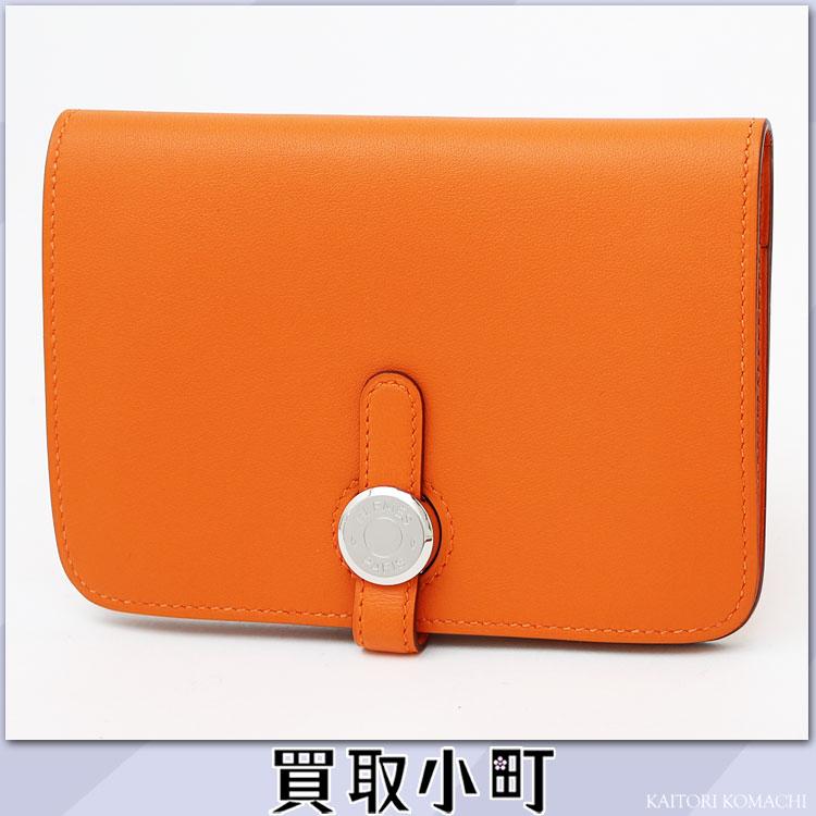 Wallet wallet 055808CK 93 PORTEFEUILLE DOGON COMPACT VEAU SWIFT ORANGE WALLET belonging to エルメスドゴンコンパクトポルトフォイユスモールウォレットオレンジヴォー スウィフトニュードゴンコインケース