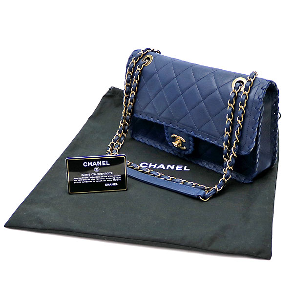 e9fd36e1e45c KAITORIKOMACHI: Chanel interchange race leather trim flap bag navy ...