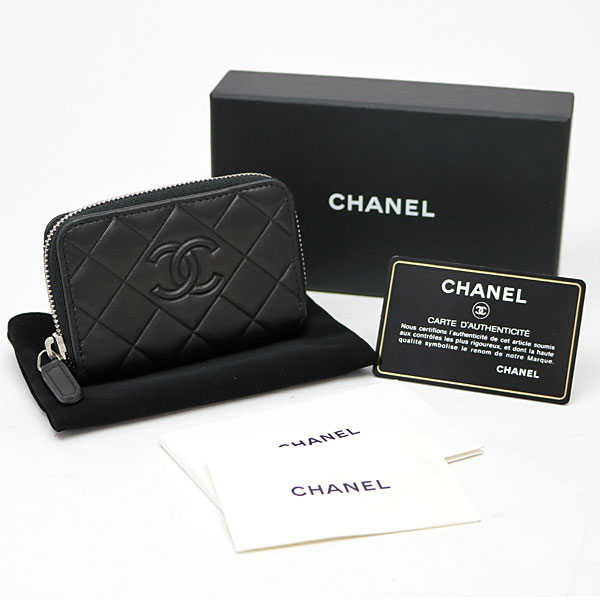 78dd265948a5 Style of Chanel round zip coin Perth black lambskin here mark diamond  quilting type push classical music coin case card case matelasse wallet  wallet A80738 ...