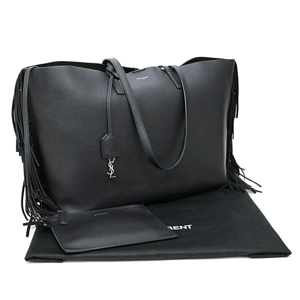 Yves Saint Lau Case Ping Fringe Tote Bag Black Calf Leather Shoulder 410666 Csv1j 1000 Ysl