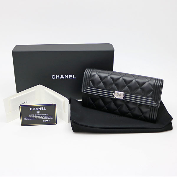 632644843bd1 Brand name, Boy Chanel quilting flap wallet. Model number, A80286. Color,  Black X silver metal fittings. Material, Leather