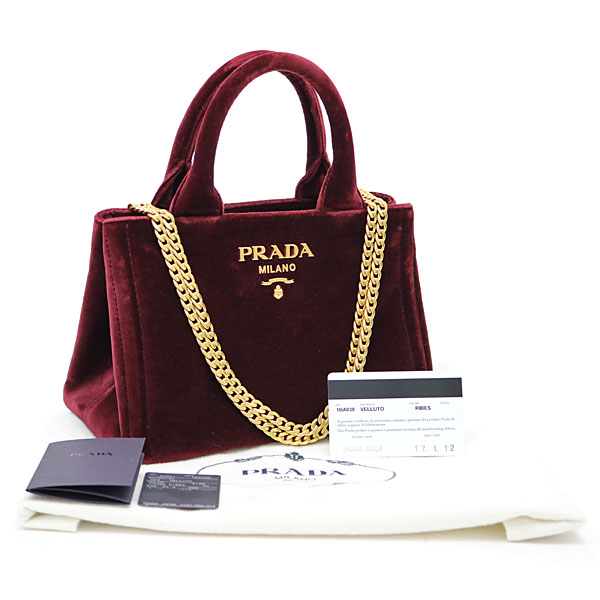 6e5c2ba9b048f Take Prada velvet mini-tote bag Bordeaux metal logo 2WAY chain shoulder bag  handbag slant  カナパ 1BA038 068 F0382 VELLUTO RIBES TOTE BAG