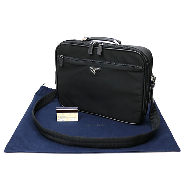 89224599a55a85 ... Prada briefcase black triangle logo 2WAY shoulder bag men bag briefcase  business bag PC case triangle ...