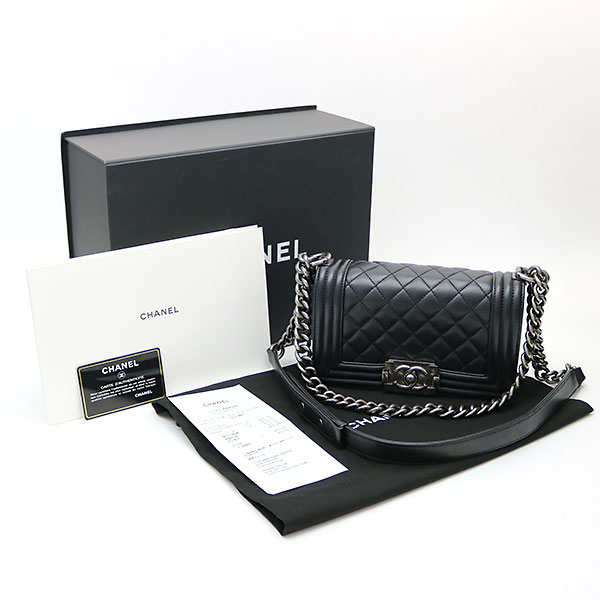 abb3b4a26019 Chanel boy Chanel Small handbag black lambskin flap bag chain shoulder bag  chain bag quilting A67085  23 BOY CHANEL FLA