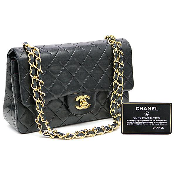 b09ad783b29a ... Chanel matelasse 23 classic Small handbag black lambskin gold metal  fittings double flap bag W chain ...